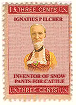 ignatious pilcher, inventor of snow pants for cattle