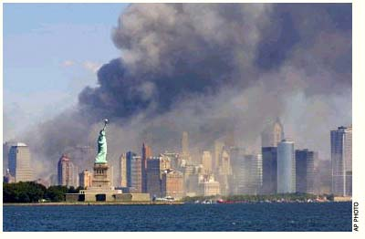 AP Photo: New York City skyline after the World Trade Center towers collapsed, September 11, 2001